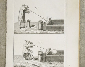Antique Engraving , Antique , Bookplate , Bernard Direxit , 1700s , Glass Blowing , Industry , 18th Century , Original ,Art ,Paper Ephemera