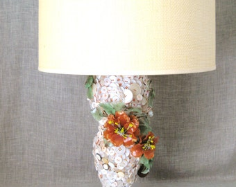 Floral Table Lamp made of Vintage Buttons, Large, Folk Art, With Shade, Handmade, Koi Pond, Hand Sewn, Desk Lighting, Portable