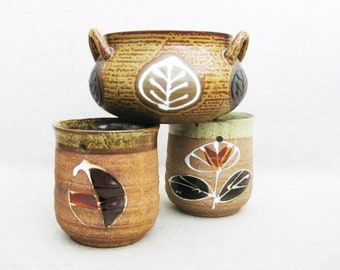 Vintage Ceramic Planters, Collection of Hanging Pots, Rustic Cabin Decor