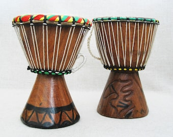 Vintage Drums, Bongo Wood and Hide Tribal Instruments, Percussion