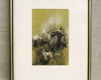 Vintage Ellen Malsch Watercolor Painting, Abstract, Signed, Original Fine Art, Green, Framed, Mid-Century, Hand Painted, Works on Paper
