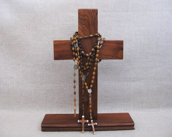 Vintage Standing Cross with Rosaries, Wooden Crucifix, Religious Decor, Wooden Rosary, Home Altar