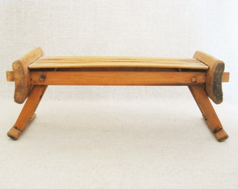 Vintage Bamboo Display Stand, Asian Bamboo Pillow, Small Folding Tray, Presentation Table, Tea Tray