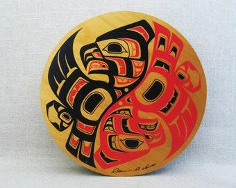 Vintage Box, Clarence Wells Round Wooden Box, Haida Art, Native American Tribal Art, Storage, Organization