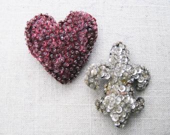 Vintage Heart Brooch, Fleur de Lis, Sequin and Beaded Felt Pin