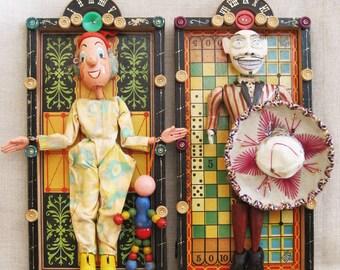 Folk Art Assemblage Sculpture, El Catrin, Lotteria, Wil Shepherd Studio, Wall Art, Antique Puppet, Vintage Game Board