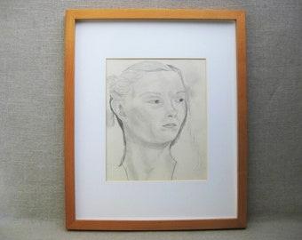 Vintage Female Portrait Drawing, Framed Original Fine Art