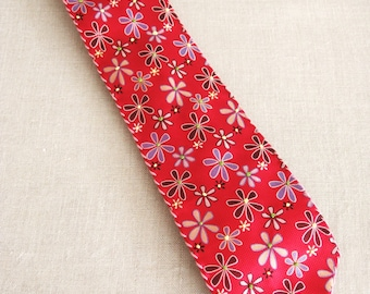 Vintage Flower Neck Tie, Hand Embroidered, Silk Floral, Pink, Neckties, Handmade, Up Cycled, Preppy