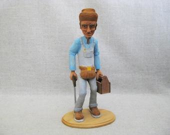 Vintage Male Portrait Carving, Folk Art Figure Hand Carved Sculpture, Rustic Cabin Decor