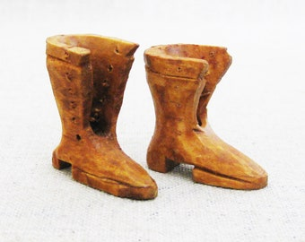 Vintage Miniature Boots, Wood Folk Art Carving Sculpture, Tree Ornaments Pair, Primitive Rustic Decor