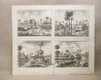 Antique Engraving, Churches of Poelepolay, Linot and Osborn, 18th Century Prints, Voyages and Travels