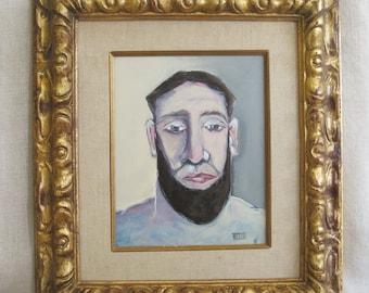 Male Portrait Painting, Framed Original Fine Art Painting, Male Portraiture, Men with Beards