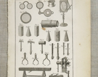 Antique Bookplate, Tools Engraving, Book Plate, Bernard Direxit, 1700s, Tools, Instruments, 18th Century, Paper Ephemera, Vannier, Outils