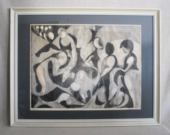 Vintage Abstract Portrait, Pastel and Ink Drawing, Large Mid-Century Wall Art, Hilda Wilson Bourgeois