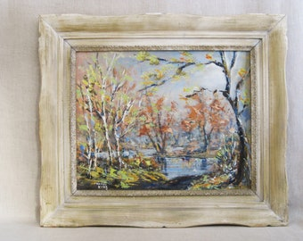 Vintage Fall Landscape Painting, Framed Original Fine Art, Fall Woodlands, Rustic Cabin Decor