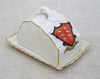 Vintage Miniature Butter Dish, Carlton China, English Souvenir, Penistone England, Coat of Arms Crest
