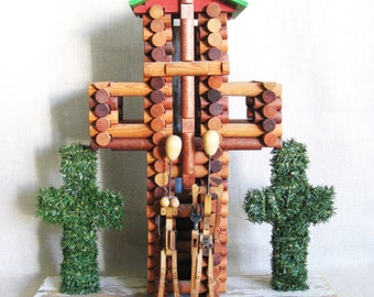 Religious Folk Art Sculpture, Grant Wood, Wil Shepherd Studio, Religious Art, Cross, American Gothic, Found Objects, Assemblage, Portrait