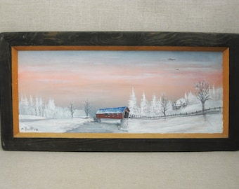 Vintage Landscape Painting, Winter Rural Scene, Framed Original Fine Art, Mark C Horth, Covered Bridge