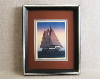 Vintage Sailboat Fine Art Print, Nautical Decor, Framed Original Fine Art