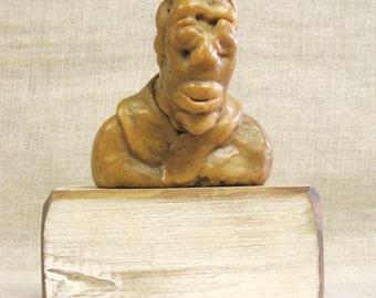 Vintage Male Bust, Wax Sculpture, Encuastic, Male Portrait Figure, Handmade, Lost Wax Mold, Bees, Metal Casting, Human, Fine Art, Unusual