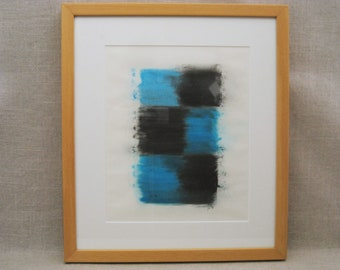 Vintage Abstract Watercolor Painting, Framed Original Fine Art, Modern Art