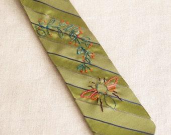 Mens Ties, Neck Tie, Bees, Hand Embroidered, Neckties, Bumble Bees, Bee Design, Green Silk, Vintage Ties, Handmade, Wil Shepherd Studio,Ties