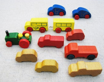 Vintage Miniature Cars, Wooden Toy Vehicles