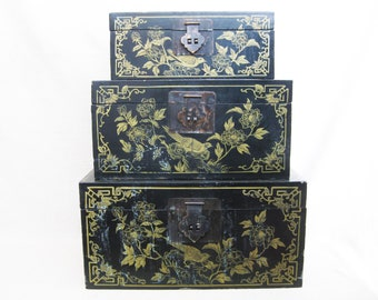 Vintage Trunks, Nesting Asian Style Black Lacquer Stacking Boxes