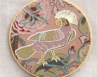 Hoop Art Embroidery, Hand Embroidery, Embroidery Art, Bird, Parrot, Wall Decor, Wedding, Embroidered Flowers, Wil Shepherd Studio, Handmade