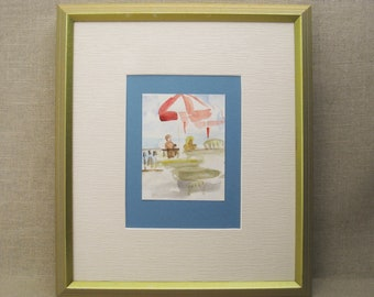 Vintage Landscape Painting, Watercolor Original Fine Art, Beach Cafe, Framed Wall Decor