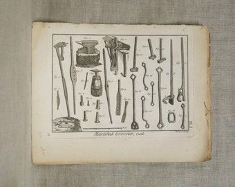 Antique, Bookplate, Tools Engraving, Book Plate, Bernard Direxit, 1700s, Tools, Instruments, 18th Century, Paper Ephemera, Vannier, Outils