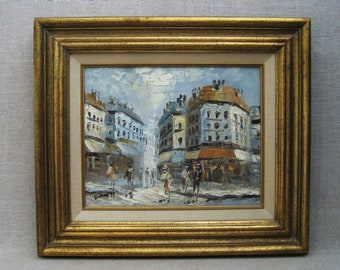 Vintage Urban Landscape, Paris City Scene, Signed Burnett, Framed Original Fine Art
