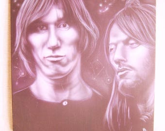 Vintage Pink Floyd Male Portrait Painting of Roger Waters and David Gilmour, Original Fine Art