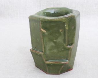 Vintage Studio Pottery Planter, Ceramic Cup, Flower Vase, Handmade, OOAK, Signed, Vessel, Green, Desk Top, Bathroom, Kitchen, Angular,Rustic
