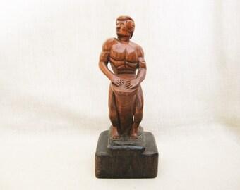 Vintage Male Portrait Folk Art Carving, Carved Wooden Sculpture, Bongo Drum Player