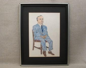 Vintage Male Portrait Drawing, Folk Art, Framed Original Fine Art, Earle T Merchant