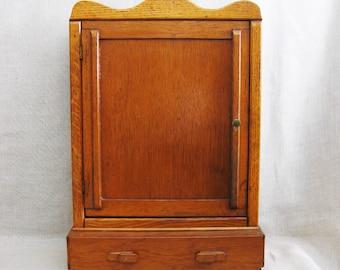 Antique Handmade Folk Art Medicine Cabinet, Spices, Storage, Organization, Small Hutch, Apothecary