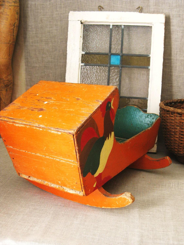 Antique Folk Art Doll Cradle Furniture Handmade