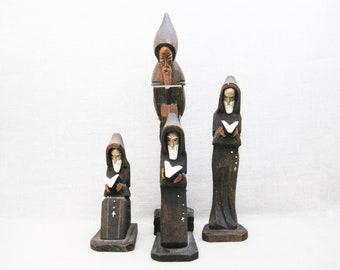 Vintage Monk Carving Collection, Religious Folk Art Sculpture