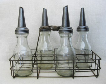 Vintage Motor Oil Bottles and Carrier, Industrial Chic, Collection