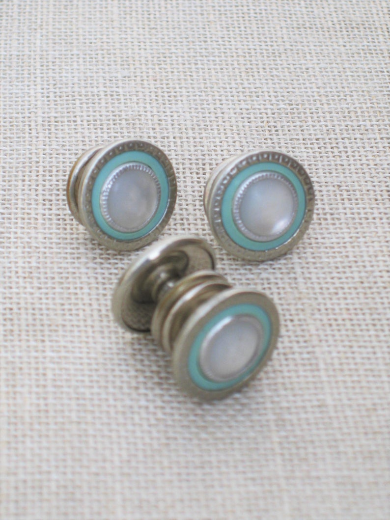 Ladies Mens Jewelry MOP Silver Tone Pair Baby Blue Mid-Century Antique Snap Link Cuff Links Set Accessories Vintage Cufflinks