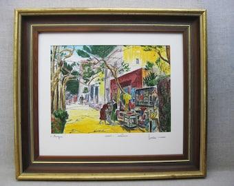 Vintage Landscape Engraving, Hand Colored Engraving, Sziklay Bela, Framed Wall Art