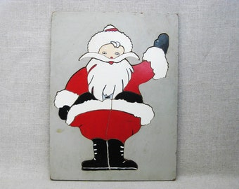 Vintage Santa Puzzle, Childrens Toys, Jigsaw, Folk Art Wall Decor