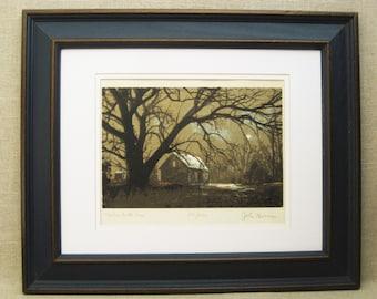 Vintage John Mosiman Serigraph Print, Landscape, Original Fine Art, Framed, Signed, Illinois Artist