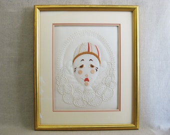 Vintage Clown Embroidery, Pierrot, Pagliacci, Framed Original Fine Art