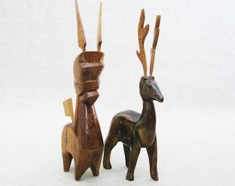Vintage Animal Carving, Folk Art Sculpture, Rustic Cabin Decor