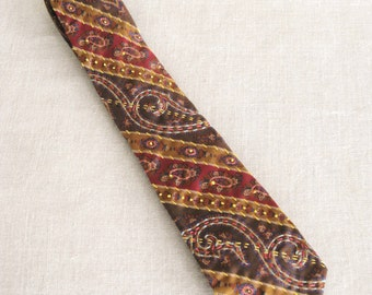Vintage Mens Tie, Hand Embroidered Silk, Floral, Mans Accessories, Paisley, Gold, Up Cycled, Preppy