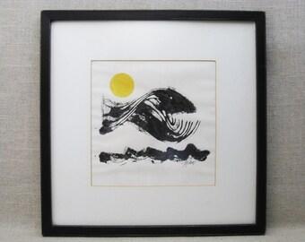 Vintage Fish Ink Monotype Fine Art Print, Framed Original Fine Art
