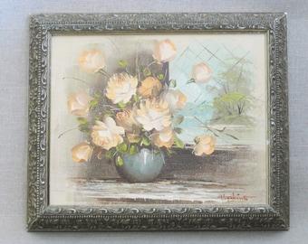 Vintage Flower Painting, Floral Still Life, Framed Original Fine Art