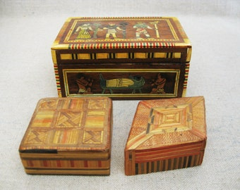 Vintage Trinket Box, Collection, Egyptian Theme, Group of 3, Storage and Organization